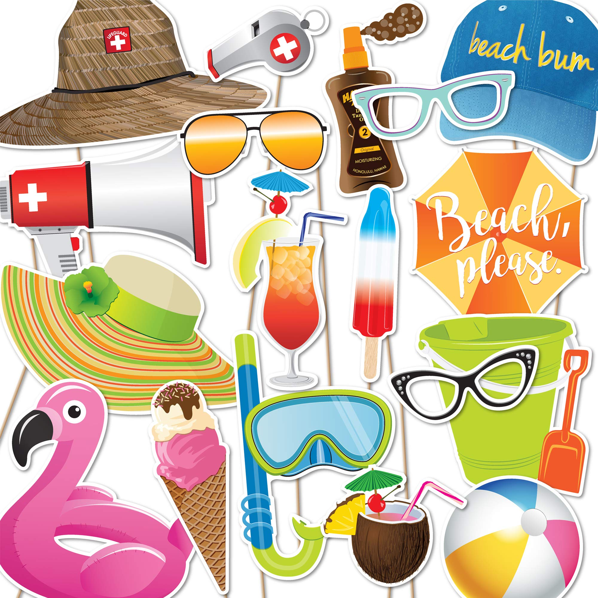 Beach Party Photo Booth Props by Paper and Cake - 18 piece set