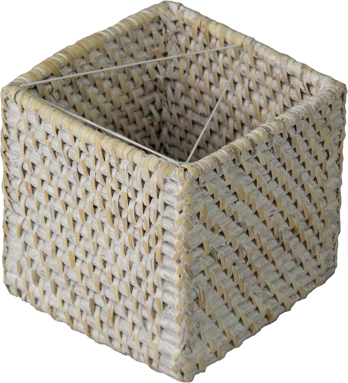 f/ür Gesichtsservietten Quadratisch Made Terra Taschentuchbox aus gewebtem Rattan dekorativer Korbgeflecht t/ünchen nachf/üllbar