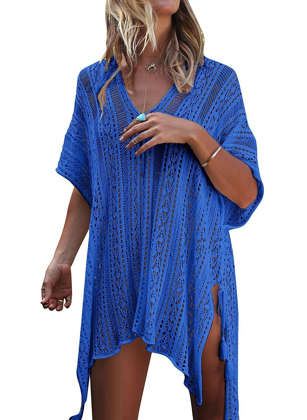 Tuopuda Women's Bathing Suit Cover Up, Bohemian Style V-Neck Beach Bikini Swimsuit Swimwear Crochet Dress One Size (Blue)