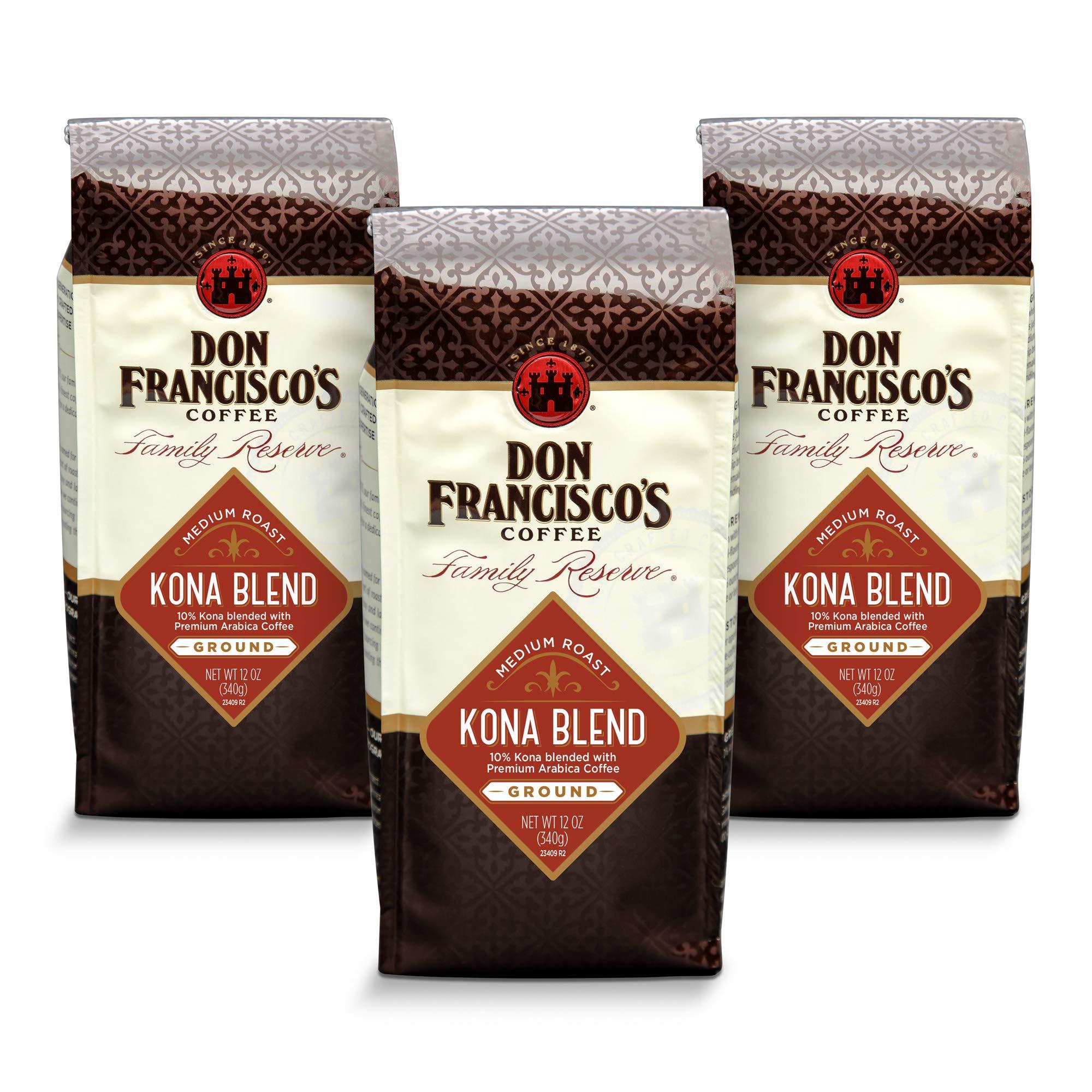 Don Francisco's Kona Blend Ground Coffee, 100% Percent Arabica ( 3 x 12 Ounce bags)