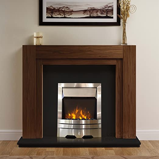 Electric American Walnut Wood Surround Black Modern Silver Steel 2kw Fire Freestanding Led Fireplace Suite 48 Amazon Co Uk Lighting