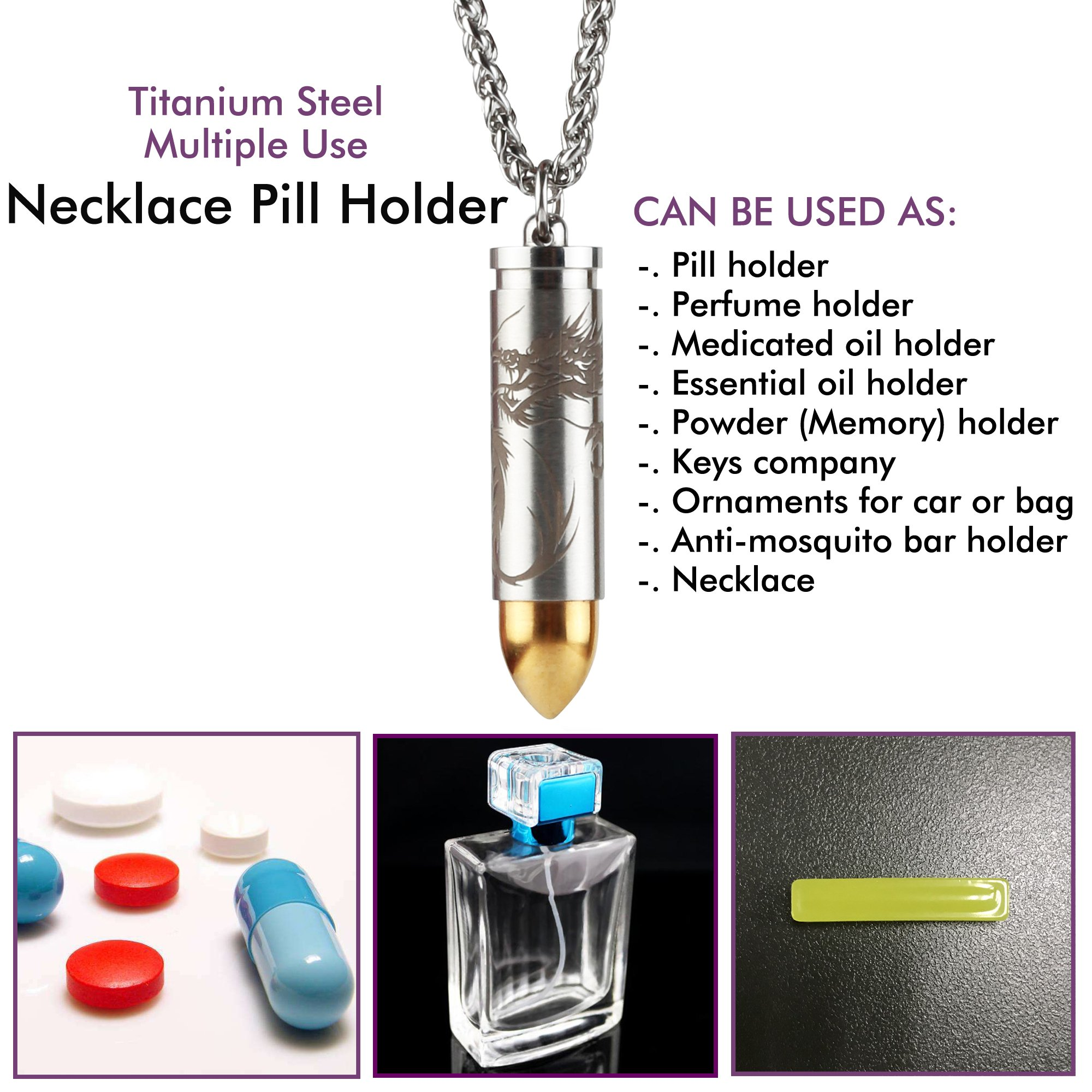 """Titanium Pill Fob Holder Container with 25"""" x 3.2mm Wide Stainless Steel Necklace for EDC Travel & Outdoor Pills, Extra Chamber at Tip for Anti-Mosquito Bar (Included), Waterproof 30 Ft"""