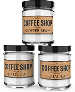 Scented Candles - Coffee Shop -Decorative Aromatherapy - Handmade in The USA with Only The Best Fragrance Oils - 3 x 4-Ounce Soy Candles