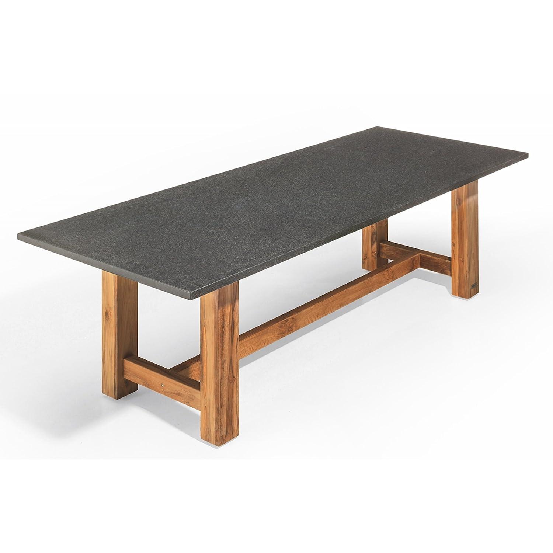 Studio 20 Voss Gartentisch 180 x 90 x 75 cm Outdoortisch Granittisch Teakholz Tischplatte Coffee brown satiniert