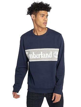 Timberland Hombre Sudadera Cut & Sew, Azul, Medium