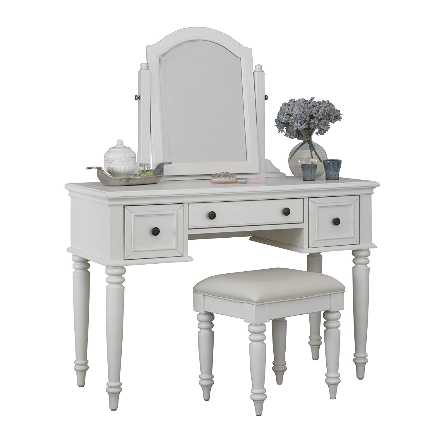 Amazon.com: Home Styles Bermuda Vanity And Bench, White Finish: Kitchen U0026  Dining