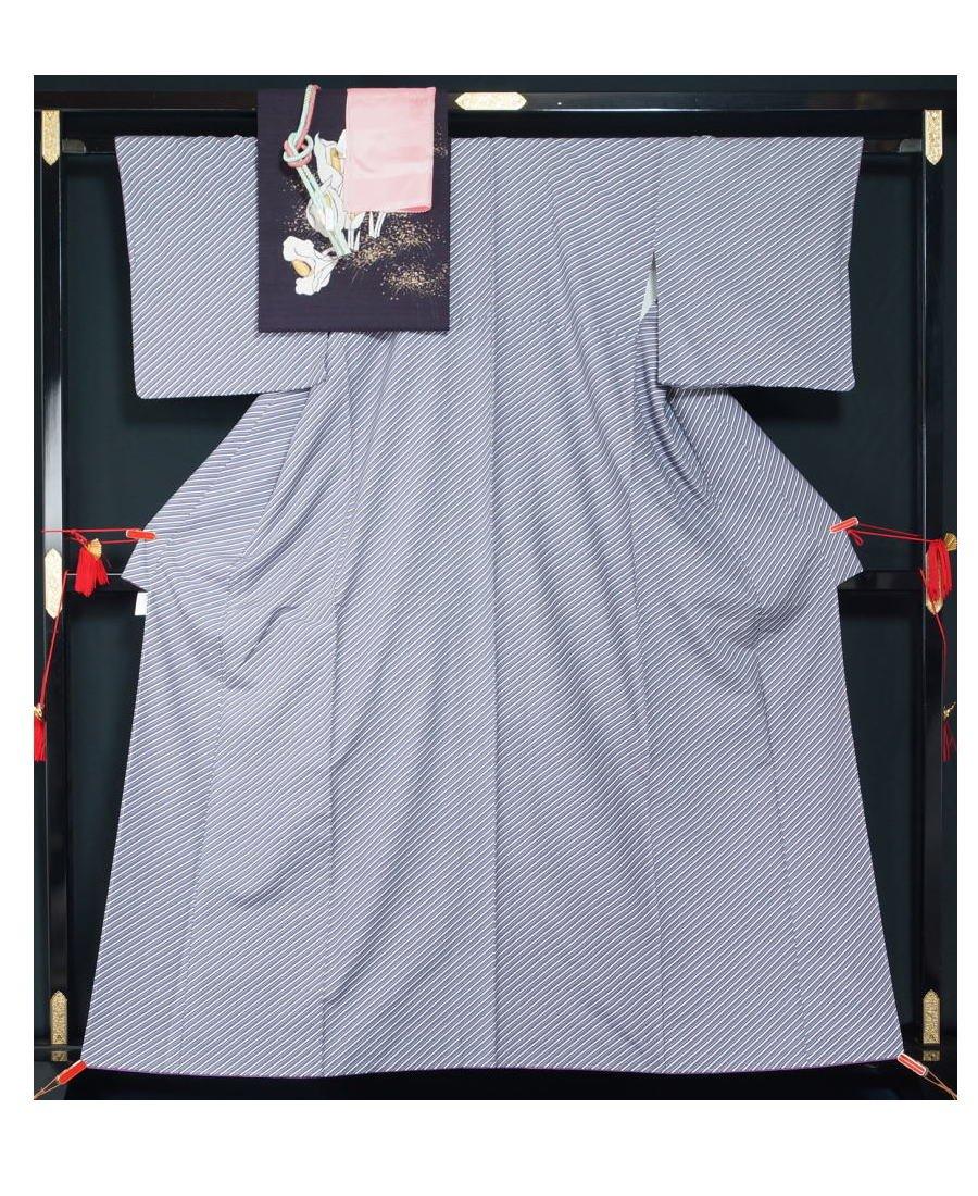 未使用品 結城紬着物4点セット 結城紬名古屋帯帯揚げ〆 【中古】 B077MH4SRJ