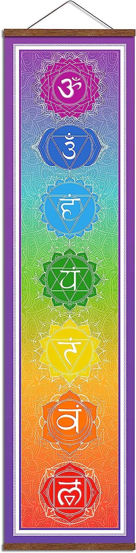 "WEROUTE Large 7 Chakra Mandala Hanging Tapestry Banner Poster Wall Decor 14"" x 53"""