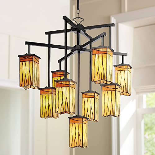 Sedona Dark Bronze Large Chandelier 32 1/2″ Wide Rustic Amber Gold Art Glass 9-Light Fixture