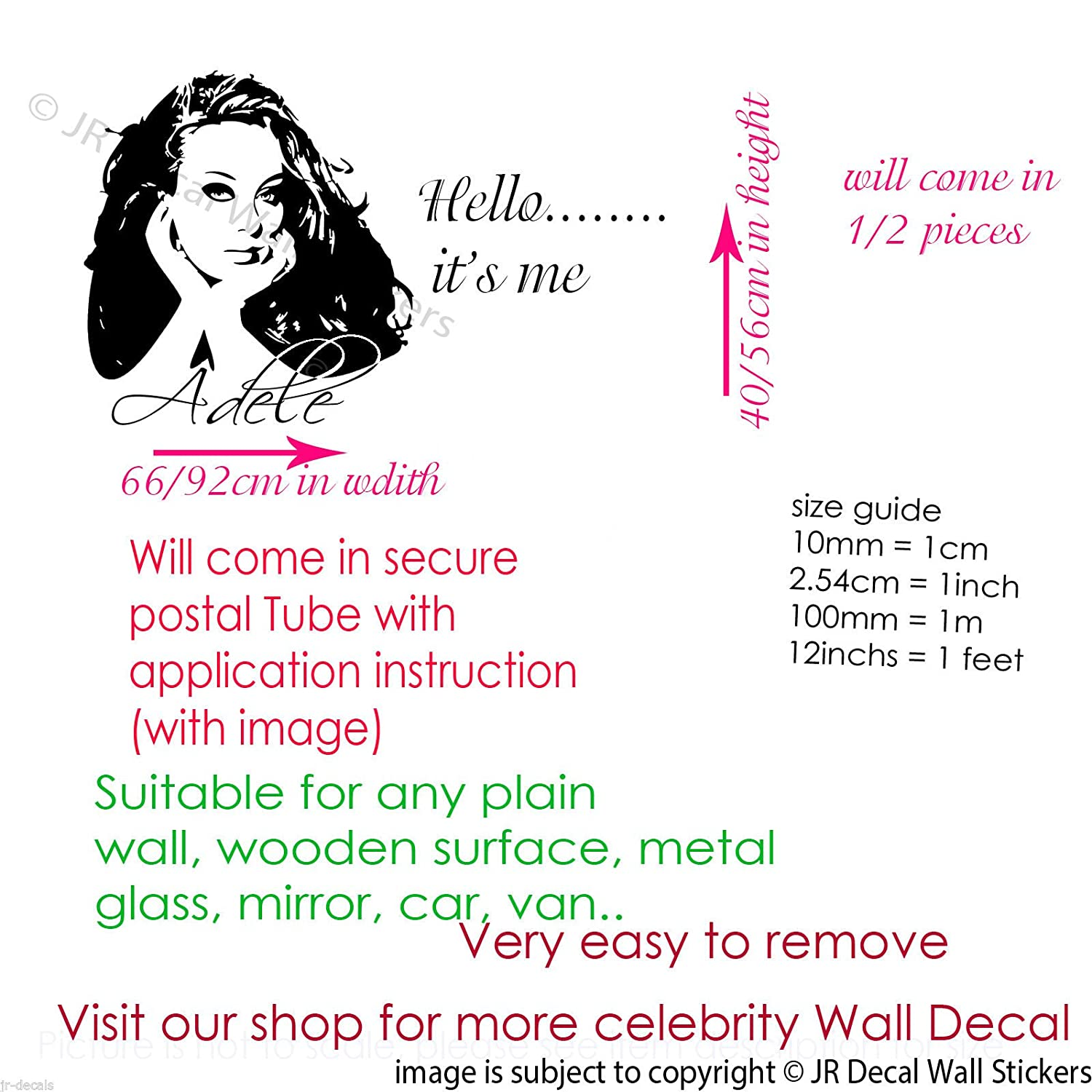 Amazon adele wall stickers celebrity wall art decal adele amazon adele wall stickers celebrity wall art decal adele hello its me removable vinyl home decor handmade amipublicfo Image collections