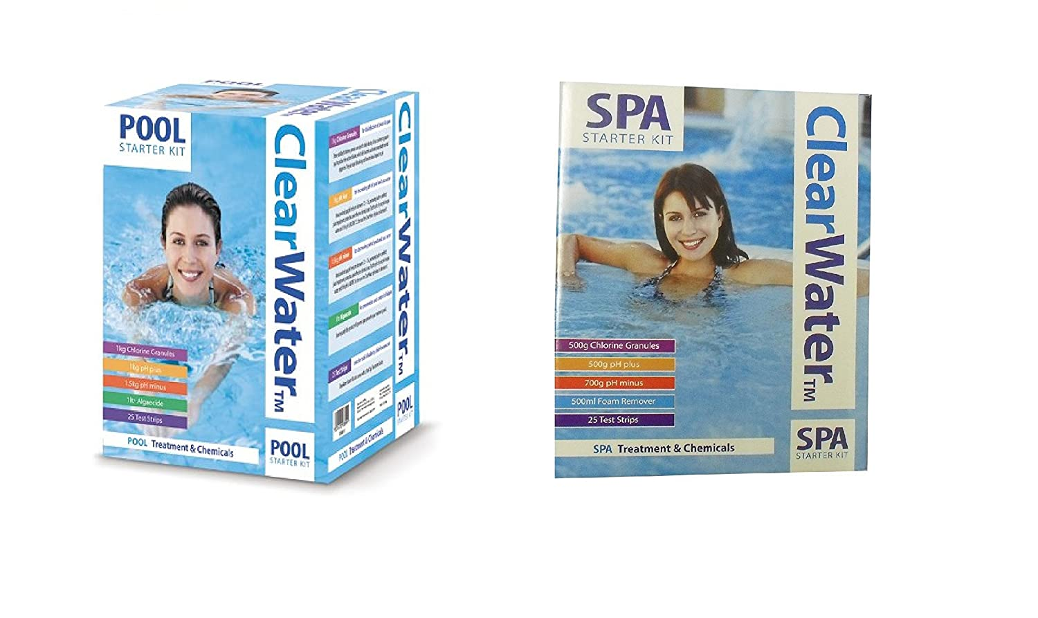 Set of 2 Clearwater Kit Includes: 500g White Clearwater Pool Chemicals Kit and 1/2 Size SPA Starter Kit Clearwater
