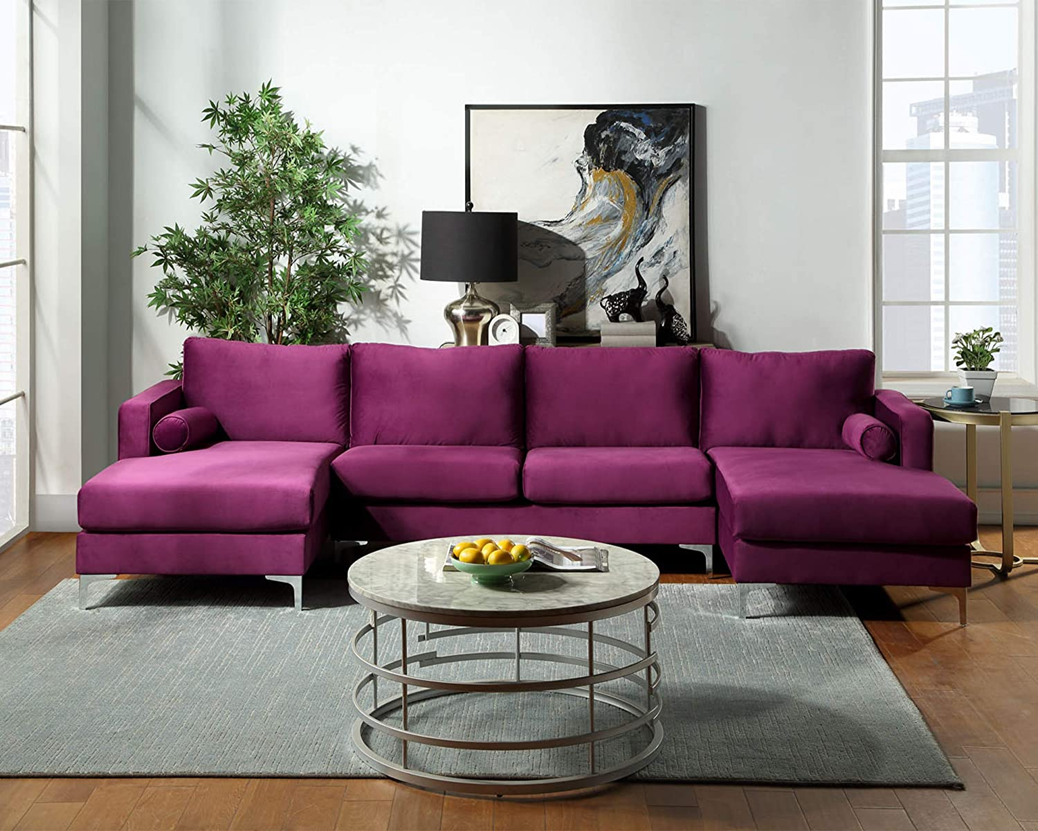 GAOPAN Modern Upholstered Soft Velvet Fabric 4 Seater U-Shape Sectional Sofa Set with Two Pillows and Double Extra Wide Chaise Lounge Couch for Home Conversation & Living Room Furniture,Purple