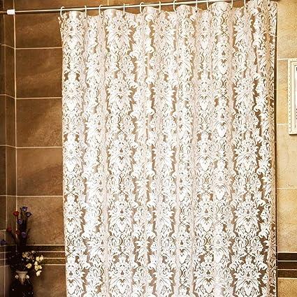 Cdcurtain White Damask Floral Shower Curtain Set Decor Fabric Bathroom Panel Shabby Chic Flower Modern