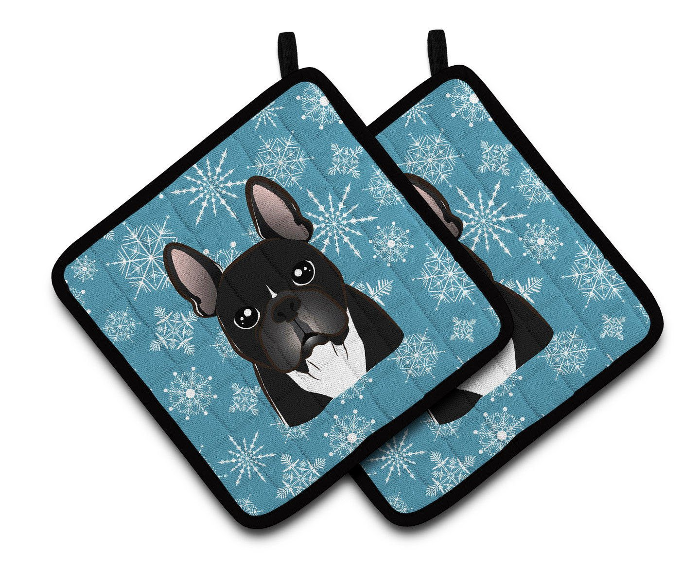 "Custom & Durable {7.5"" X 7.5'' Inch Each} 2 Set Pack Mid Size ""Non-Slip"" Pot Holders Made of Cotton for Carrying Hot Dishes w/ French Bulldog Winter Snowflake Style [White, Blue, & Black]"