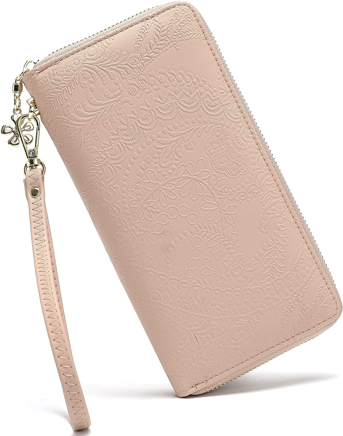 Women Large Wallet Soft PU Leather Phone Clutch Purse with Wrist Strap Zip Around …