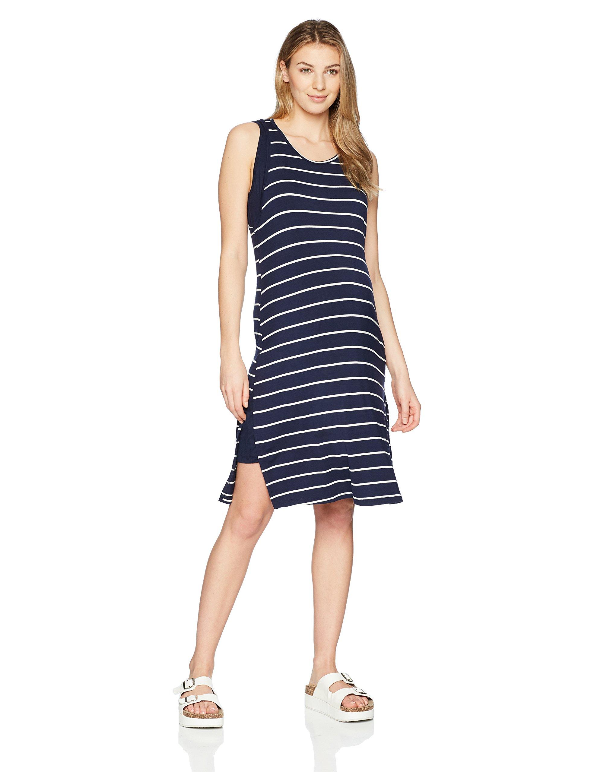 Everly Grey Women's Alex 2 Piece Maternity & Nursing Racerback Tank Dress, Navy Stripe, Small by Everly Grey