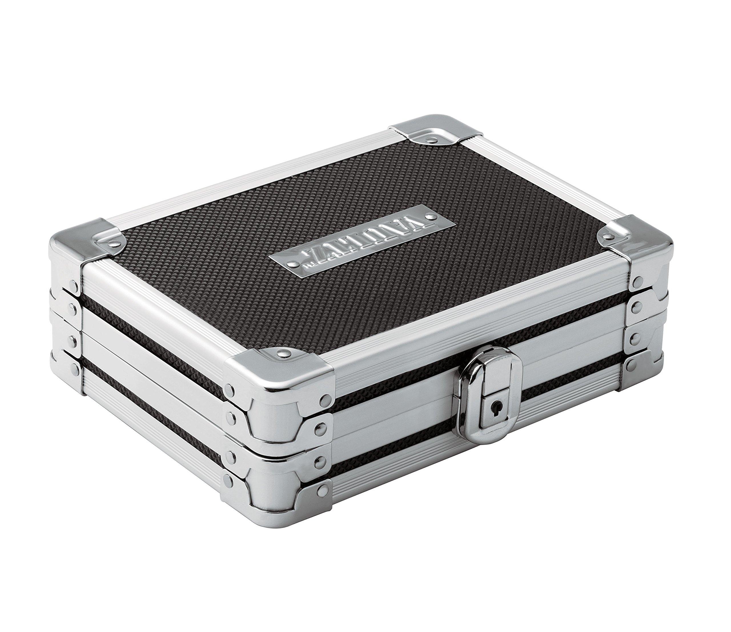 Vaultz Locking Gadget Box, Black with Chrome Accents, 5.5 x 8.25 x 2.25 Inch - Exterior Dimensions (VZ01269)