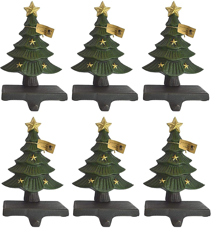 Lulu Decor, Cast Iron Decorative Christmas Tree Stocking Holder, Solid, Beautiful, Set of 6, Perfect, Stocking Hanger (6 Trees with Stars)