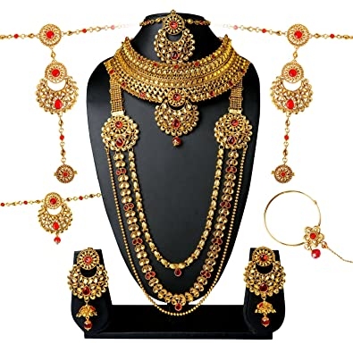 24fc5417443b Buy Arpan Jewellers Bridal Jewellery Set Online at Low Prices in India |  Amazon Jewellery Store - Amazon.in