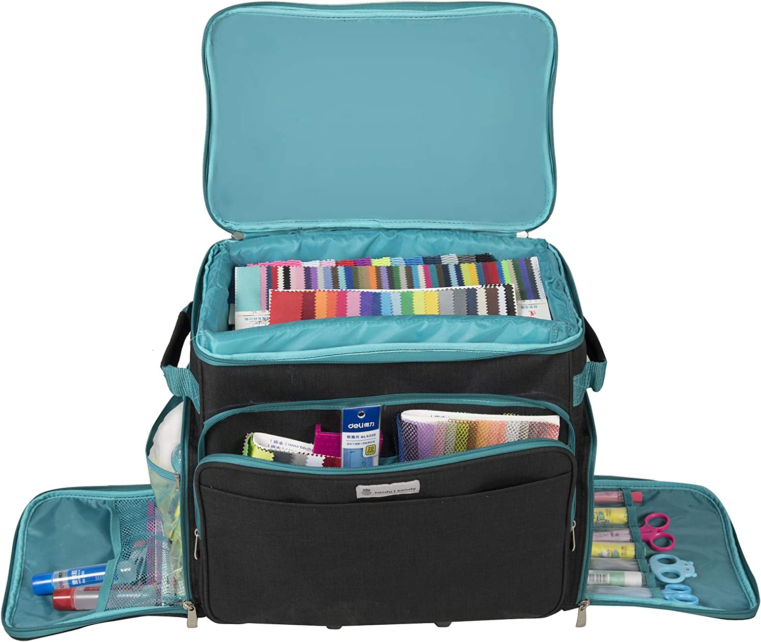 Black Handy Sandy Craft /& Sewing Storage Organizer Wheeled Bag