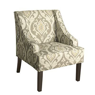 Kinfine K6499-A793 Suri Swoop Arm Accent Chair, Small, Tan Damask