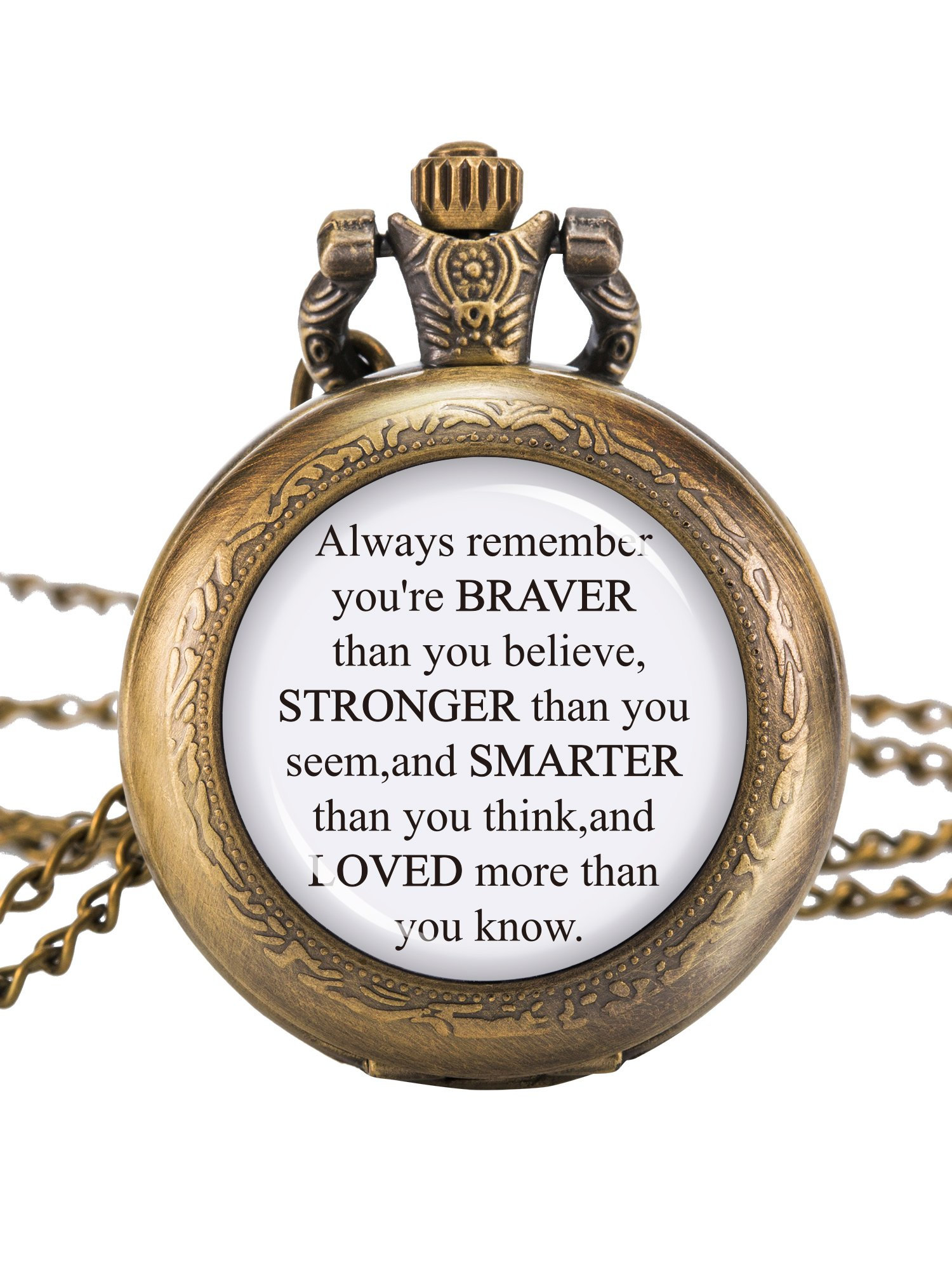 Hicarer Pocket Watch Chain You Are Braver Stronger Smarter Than You Think Personalised Pocket Watch for Women Men (Bronze)