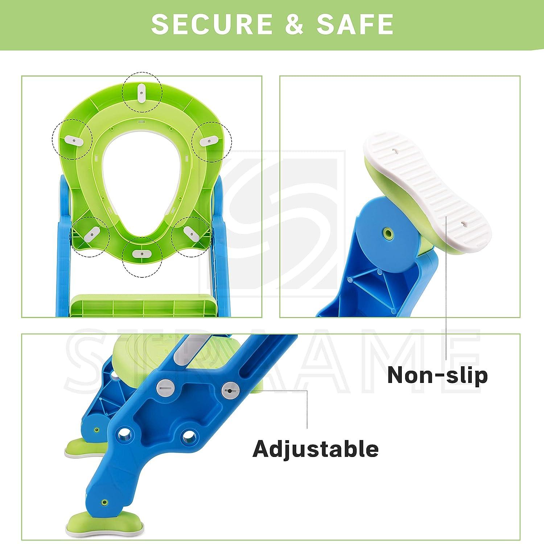Badhilfe Kleinkind Trainingssitze tragbares Design gr/ün-blau H/öhenverstellbarer Tritthocker f/ür Jungen und M/ädchen Straame Kinder-WC-Sitz
