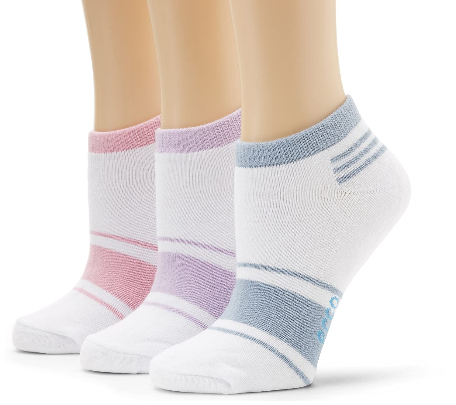 ECCO Women's No Show Logo Assorted Color Socks Lavender/Powder Blue/Pink 9/11 E3CLS26