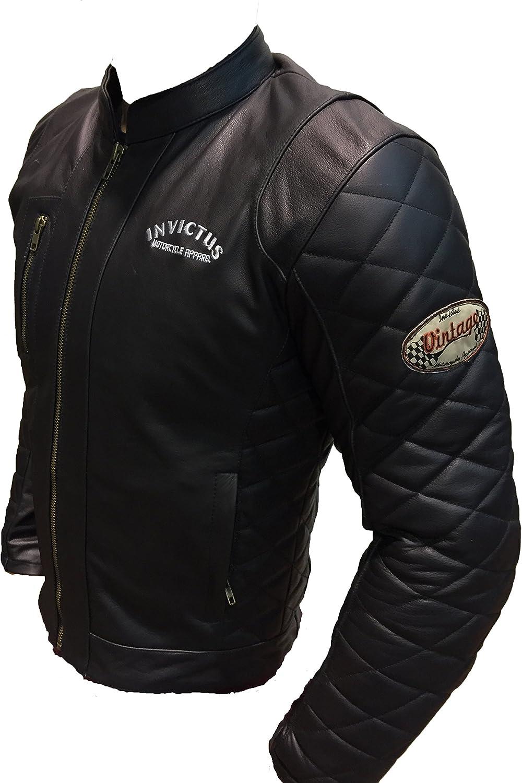 Chaqueta de cuero de moto estilo vintage cafe racer Invictus Hector negra (M)