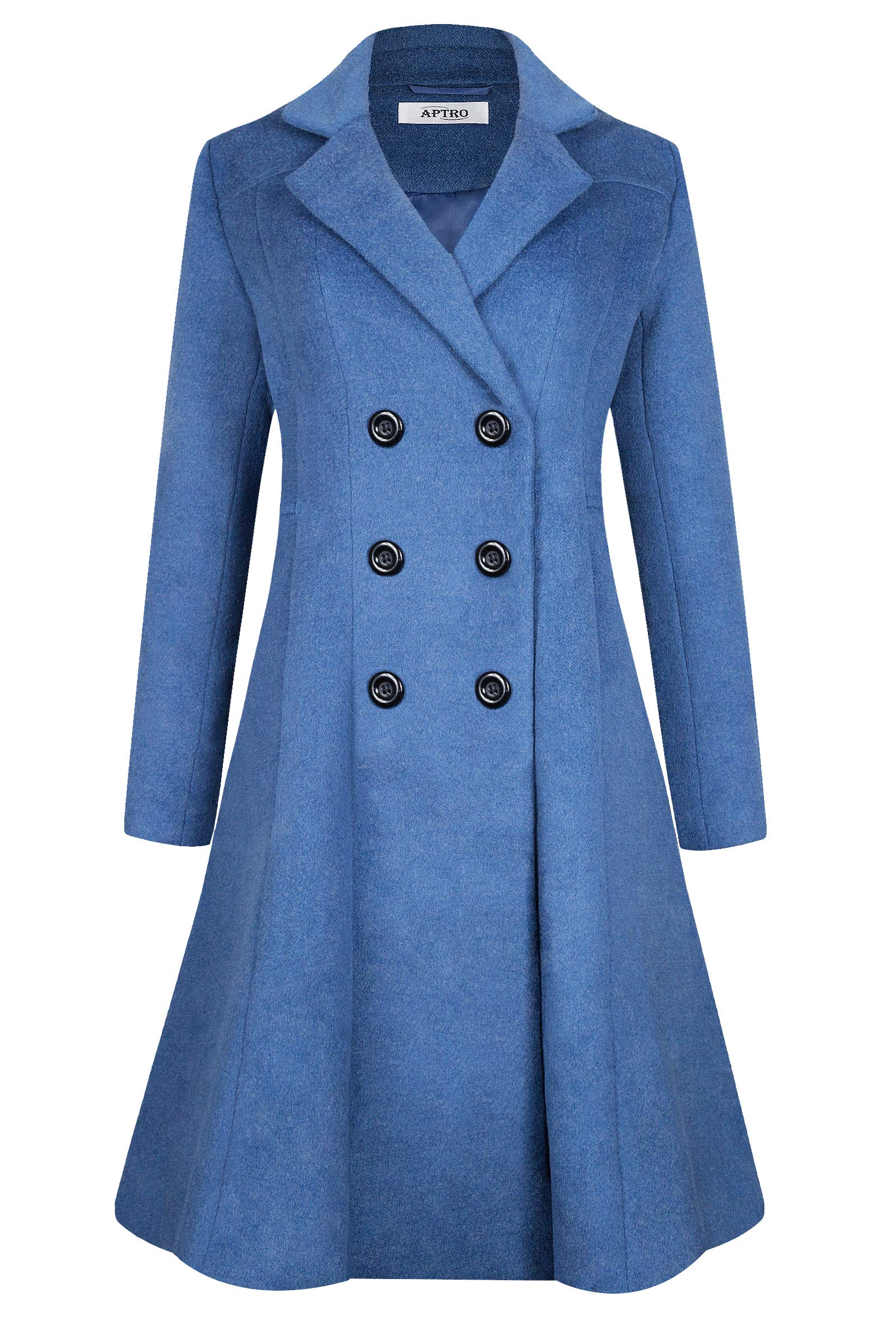 APTRO Women's Winter Wool Dress Coat Long Double Breasted Trench Coat
