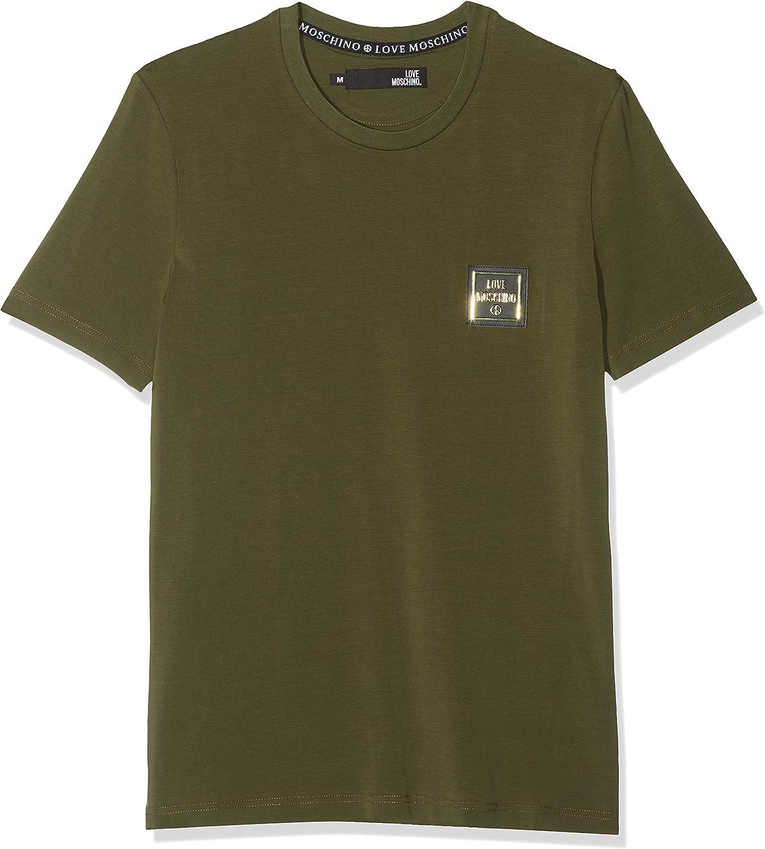 Love Moschino Peace Badge_Slim Fit Short Sleeve T-Shirt Camiseta para Hombre
