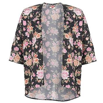 Lee Cooper rosas impresión kimono para mujer negro/rosa camisa blusa chaqueta, negro /