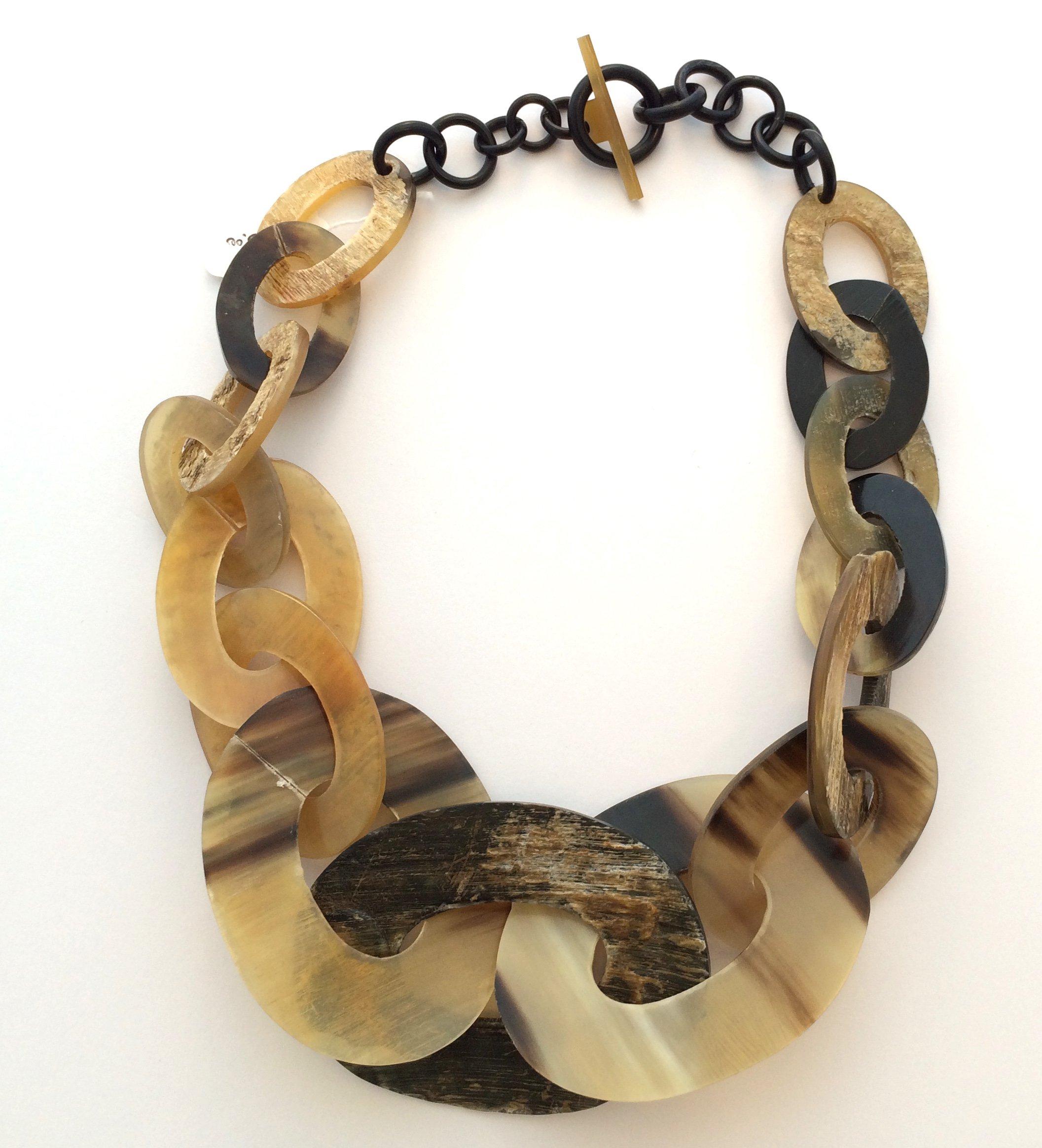 HWK Designs: Large, Chunky, Natural Buffalo Horn Link Necklace 22'' (dark)