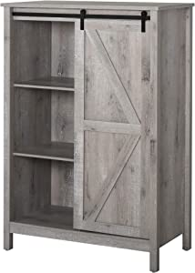 HOMCOM Rustic Cupboard Storage Cabinet Home 3-Tier Organizer with Barn Door, Adjustable Shelf Freestanding Furniture, Grey Oak Color