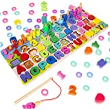 Wooden Magnetic Puzzles for Toddlers, 5-in-1 Color Alphabet Shape Number Sorting Fishing Game Toys, Educational Math Stacking