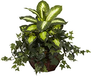 Nearly Natural 6732 Dieffenbachia and Ivy with Decorative Planter, Green