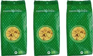 Mundo Feliz - Piña ecológica deshidratada en trozos, 3 bolsas de 200g