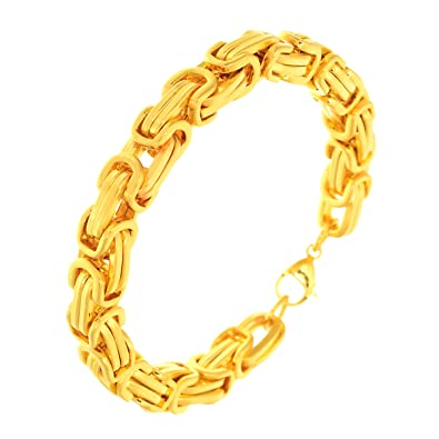 Bebold Cool Trend Gold Stainless Steel Byzantine Design Bracelet For