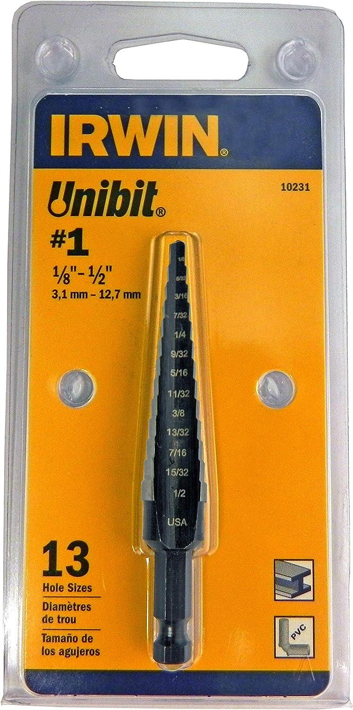 Irwin 10231 Unibit 1 1//8 pouces à 1//2 pouces 1//4 pouces Shank Step Drill Bit