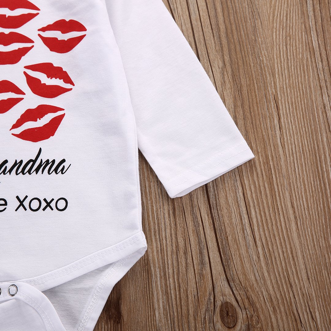 0-18 Months Carolilly Newborn Baby Bodysuits Lipstick Kiss Long Sleeved Vests Baby Grows