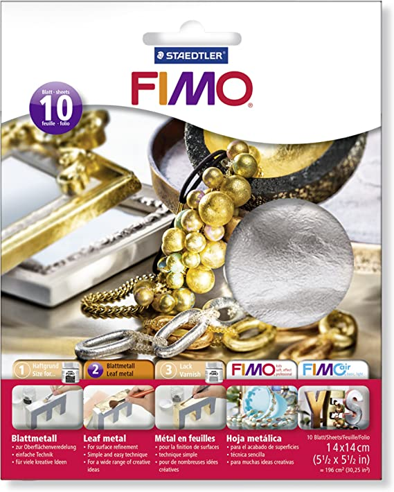 Pack of 10 Fimo 14cmx14cm Silver Leaf Cover Sheets