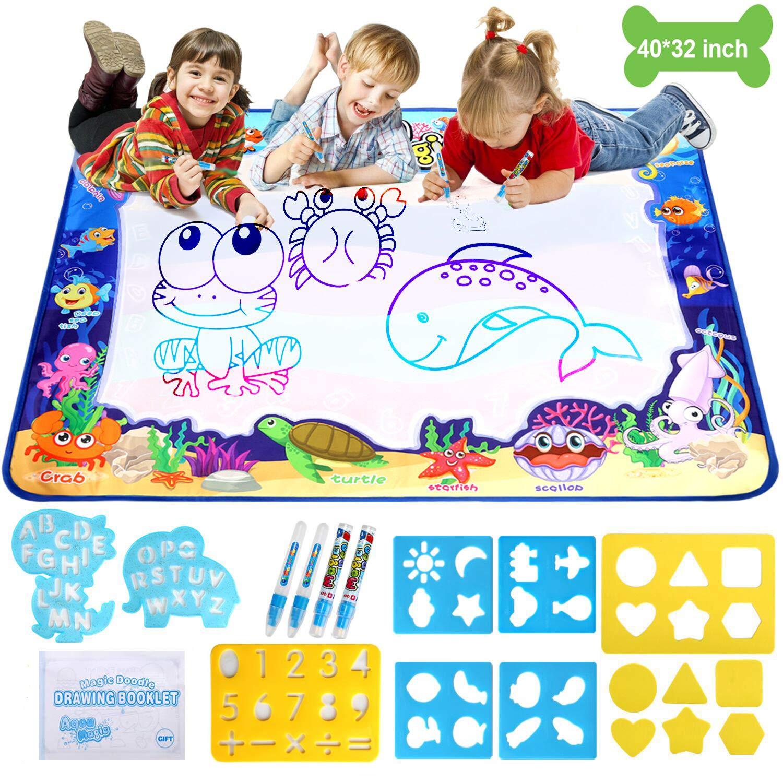 Adsoner Water Magic Mat, Aqua Drawing Magic Mat, Water Painting Doodle Mat with 4 Magic Pens Developmental Educational Toys for Toddlers Kids (40 X 32 Inches)