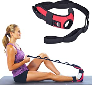DMoose Fitness Foot and Leg Stretcher for Plantar Fasciitis, Improve Strength, Balance Stretches and Achilles Tendonitis, Stretch Loops for Hamstring, Quad, and Calf Pain Relief (Red)