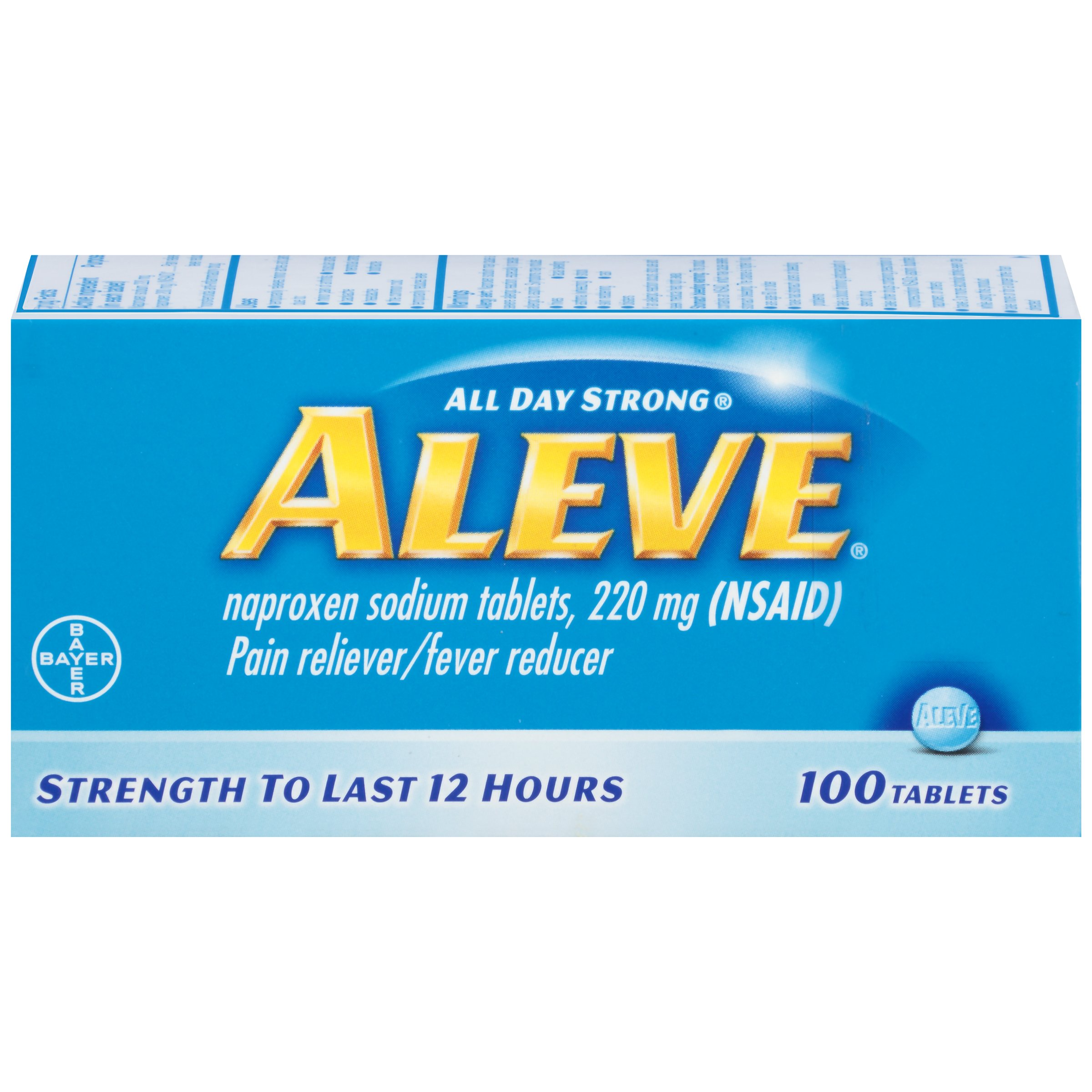 Aleve All Day Strong Pain Reliever, Fever Reducer Tablets, 100 Count