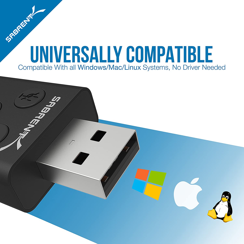 aucun pilote n/écessaire. AU-DDAB Sabrent Adaptateur externe USB son st/ér/éo 3D pour Windows et Mac Noir Plug /& play