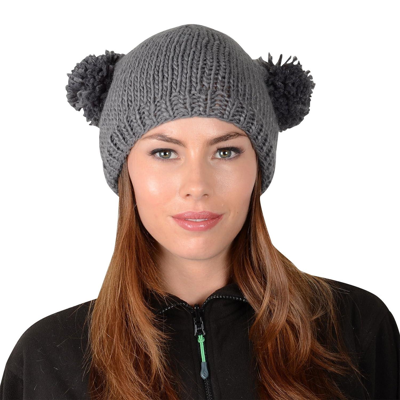 0e0bc3b6a5e Soft Chunky Knit Beanie Style Ski Hat With Pom Pom Ears Black  Amazon.co.uk   Clothing