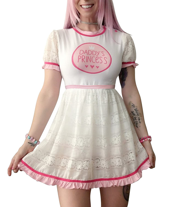 Littleforbig Adult Baby Diaper Lover ABDL Snap Crotch Romper Onesie- Lacy Dress LA01-LB-016