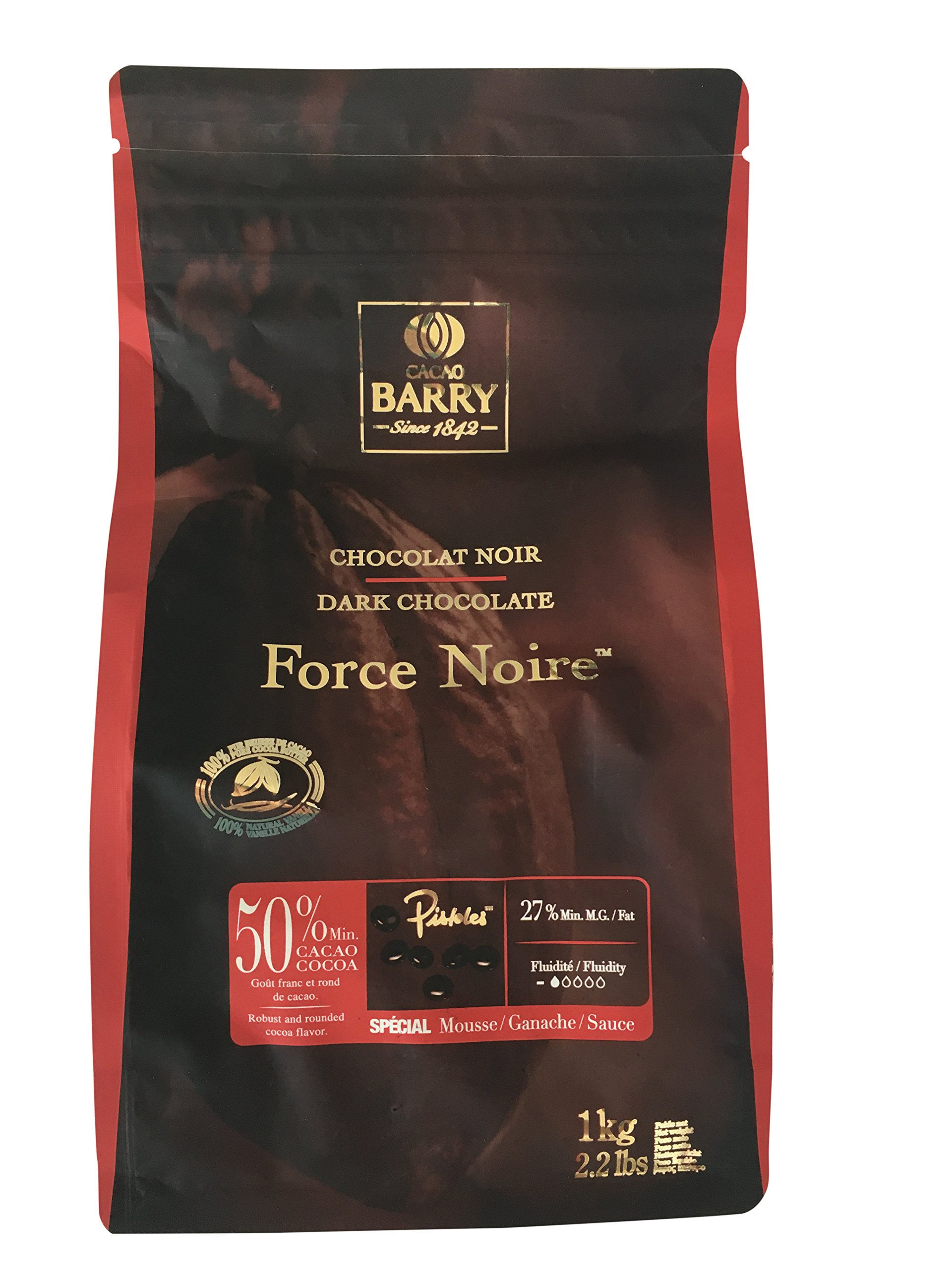 Barry Callebaut Force Noire Chocolate beans - 50% cocoa Dark chocolate 1kg 2.2lbs by Callebaut