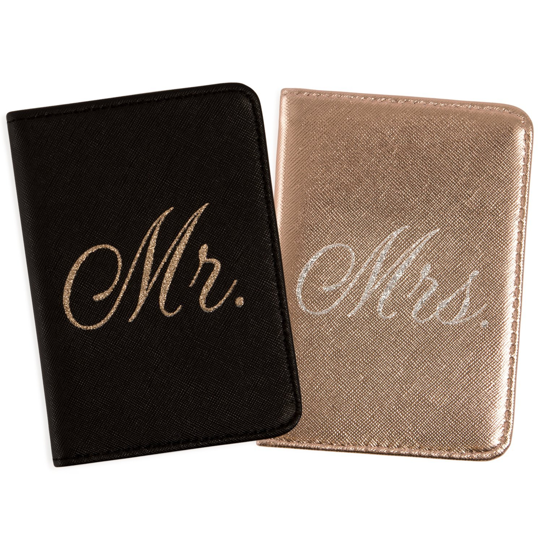 Mirror Mirror Passport Wallets Travel Holder Set: Mr. & Mrs. Slim Waterproof Passport Case Covers & Organizer Slots for ID, Money & Credit Card - Black & Rose Gold