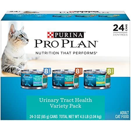 Amazon.com : Purina Pro Plan Focus Classic Urinary Tract Health Formula Adult Wet Cat Food Variety Pack - (24) 3 Oz. Cans : Pet Supplies